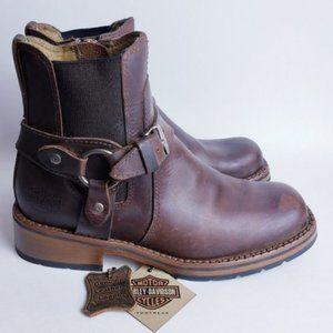 Harley-davidson Leather Harness Combat Moto Boot